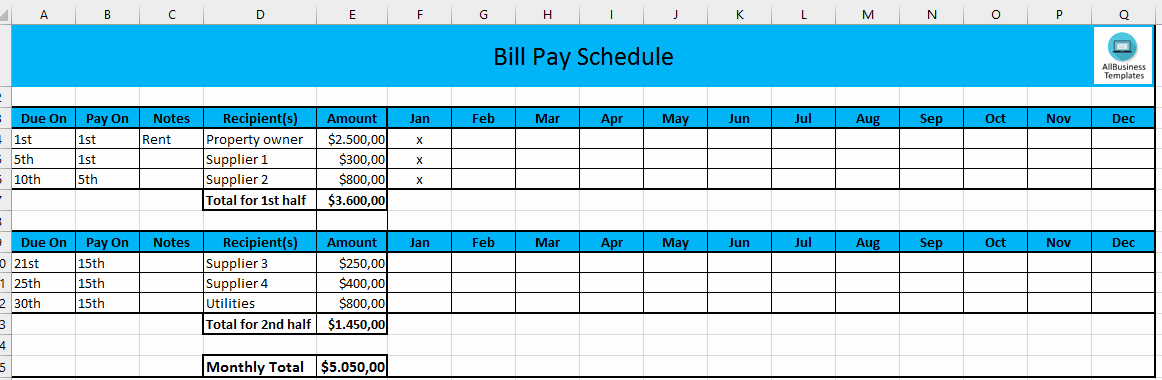 Bill Payment Calendar Template Lovely Monthly Payment Schedule In Excel
