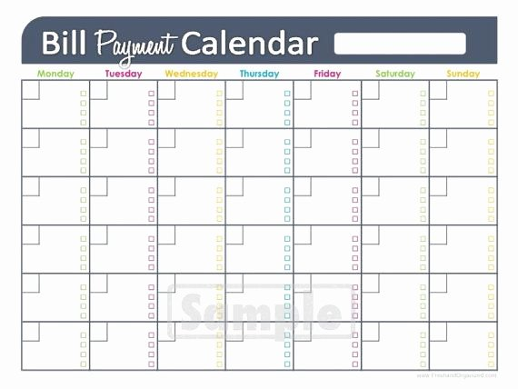 Bill Payment Calendar Template Unique Bill Payments Calendar Editable Personal Finance