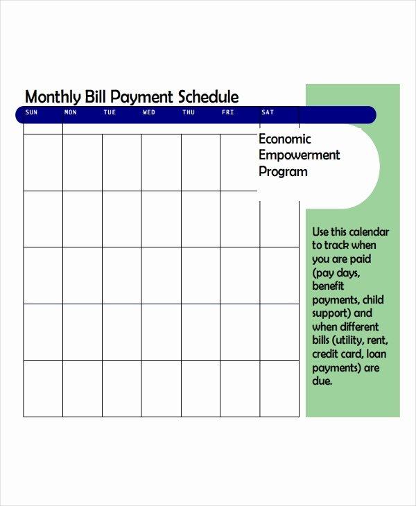 Bill Payment Schedule Template Elegant 6 Bill Payment Schedule Templates Free Samples