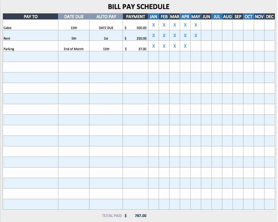 Bill Payment Schedule Template Inspirational Free Weekly Schedule Templates for Excel Smartsheet