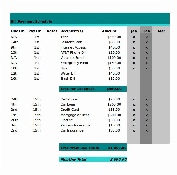 Bill Payment Schedule Template Lovely 22 Monthly Work Schedule Templates Pdf Docs