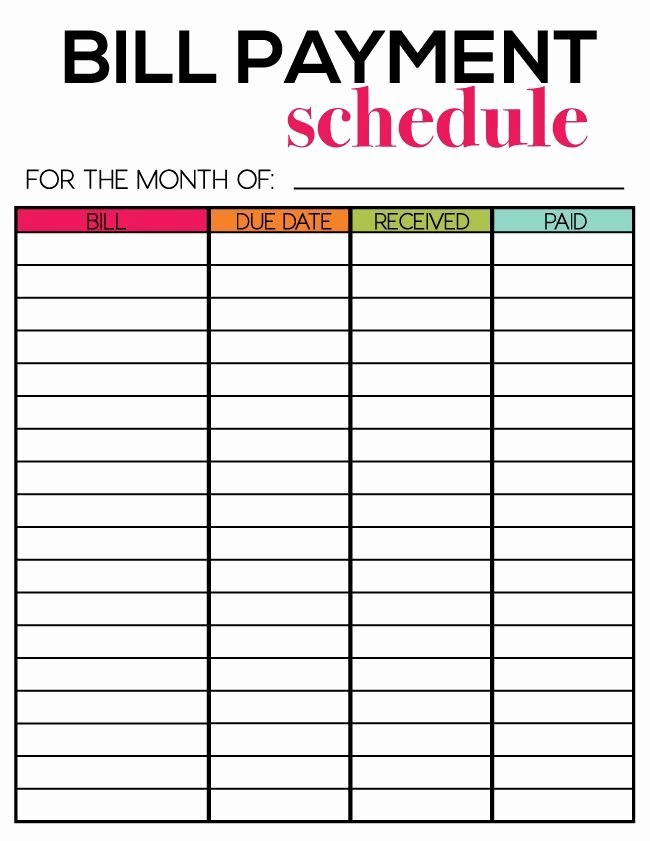 Bill Payment Schedule Template Lovely Free Printables for Newsletter Subscribers Thirty