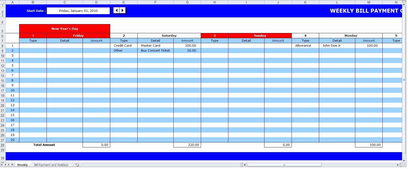 Bill Payment Schedule Template Luxury Bill Payment Schedule