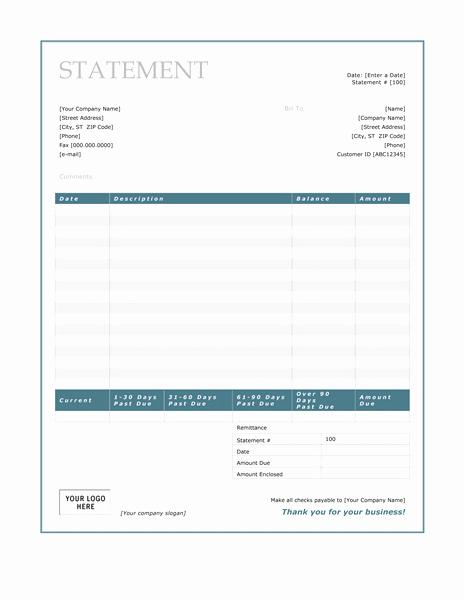 Billing Invoice Template Word Best Of Billing Statement Blue Border Design Free