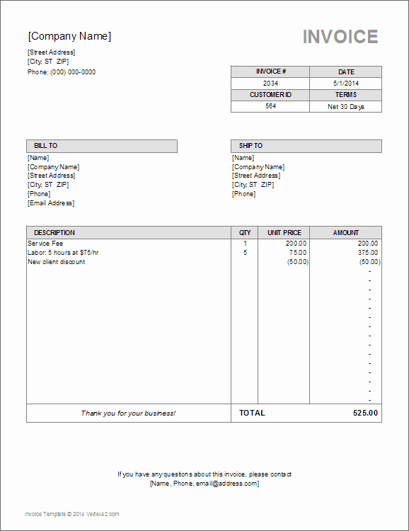 Billing Invoice Template Word Elegant Billing Invoice Template for Excel