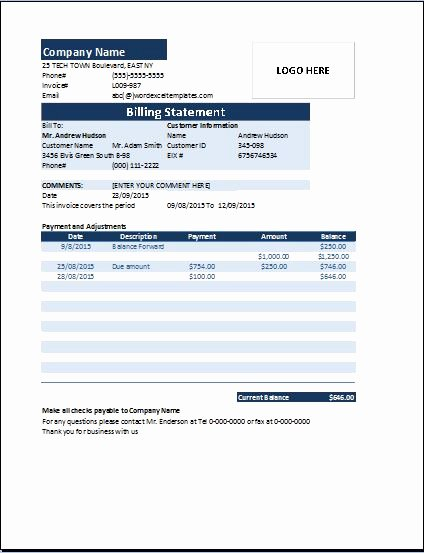 Billing Invoice Template Word Inspirational Ms Excel Billing Statement Invoice