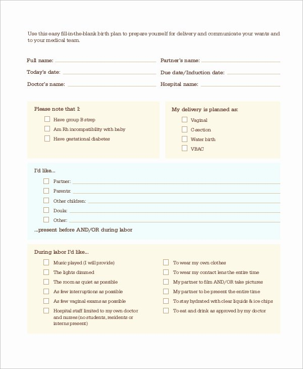 Birth Plan Template Word Doc Best Of Printable C Section Birth Plan Printable Pages