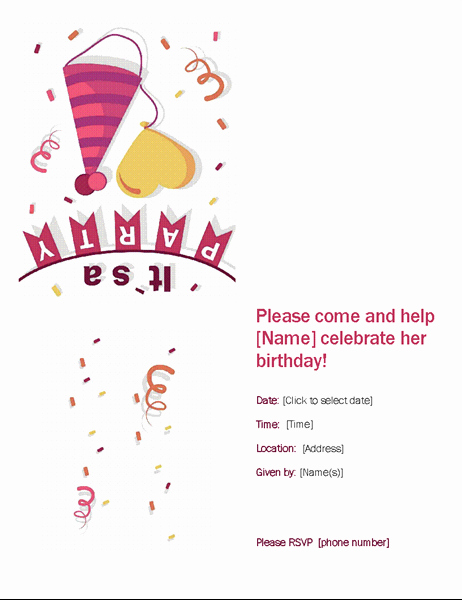 Birthday Invitation Template Word Beautiful Birthday Party Invitation