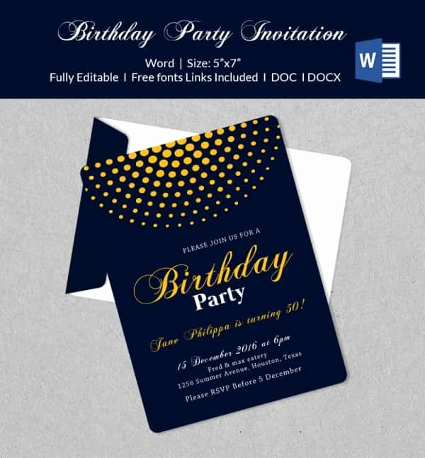 Birthday Invitation Template Word Elegant 50 Microsoft Invitation Templates Free Samples