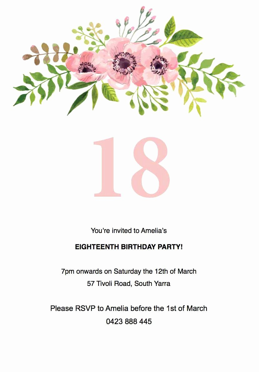 Birthday Invitation Template Word Elegant Floral Birthday Invitation Template Paperlust