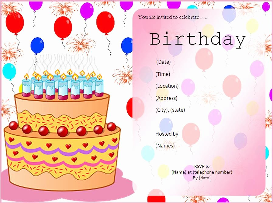 Birthday Invitation Template Word Fresh 10 Free Birthday Invitation Templates