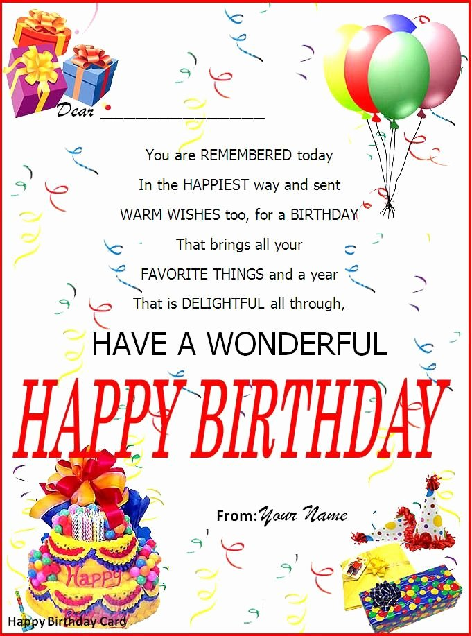 Birthday Invitation Template Word Inspirational Birthday Card Word Template