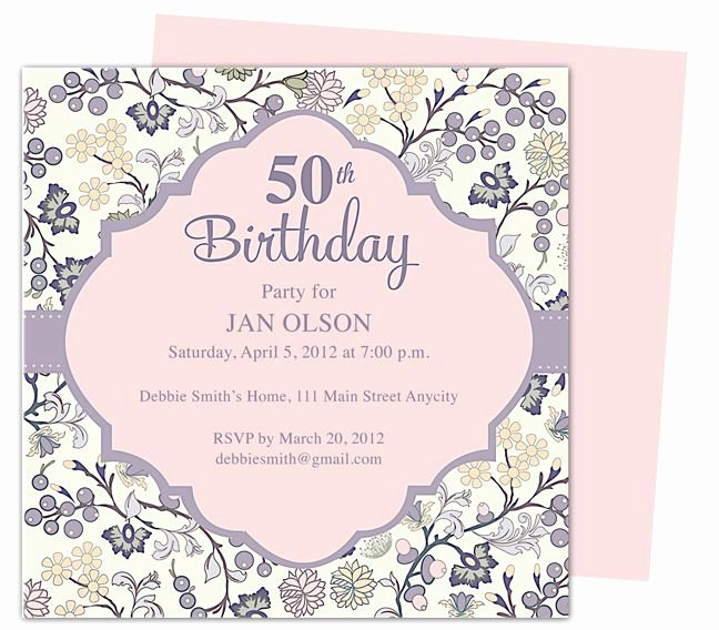 Birthday Invitation Template Word Luxury Beautiful and Elegant 50th Birthday Party Invitations