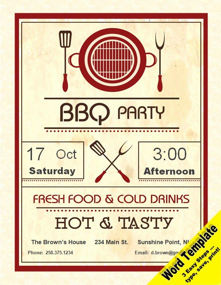 Birthday Invitation Templates Word Beautiful Barbecue Party Invitation Editable Word Template Printable