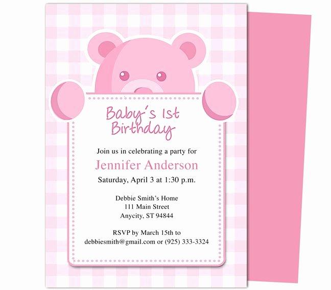Birthday Invitation Templates Word Elegant Beary Cute Girl 1st Birthday Invitations Template