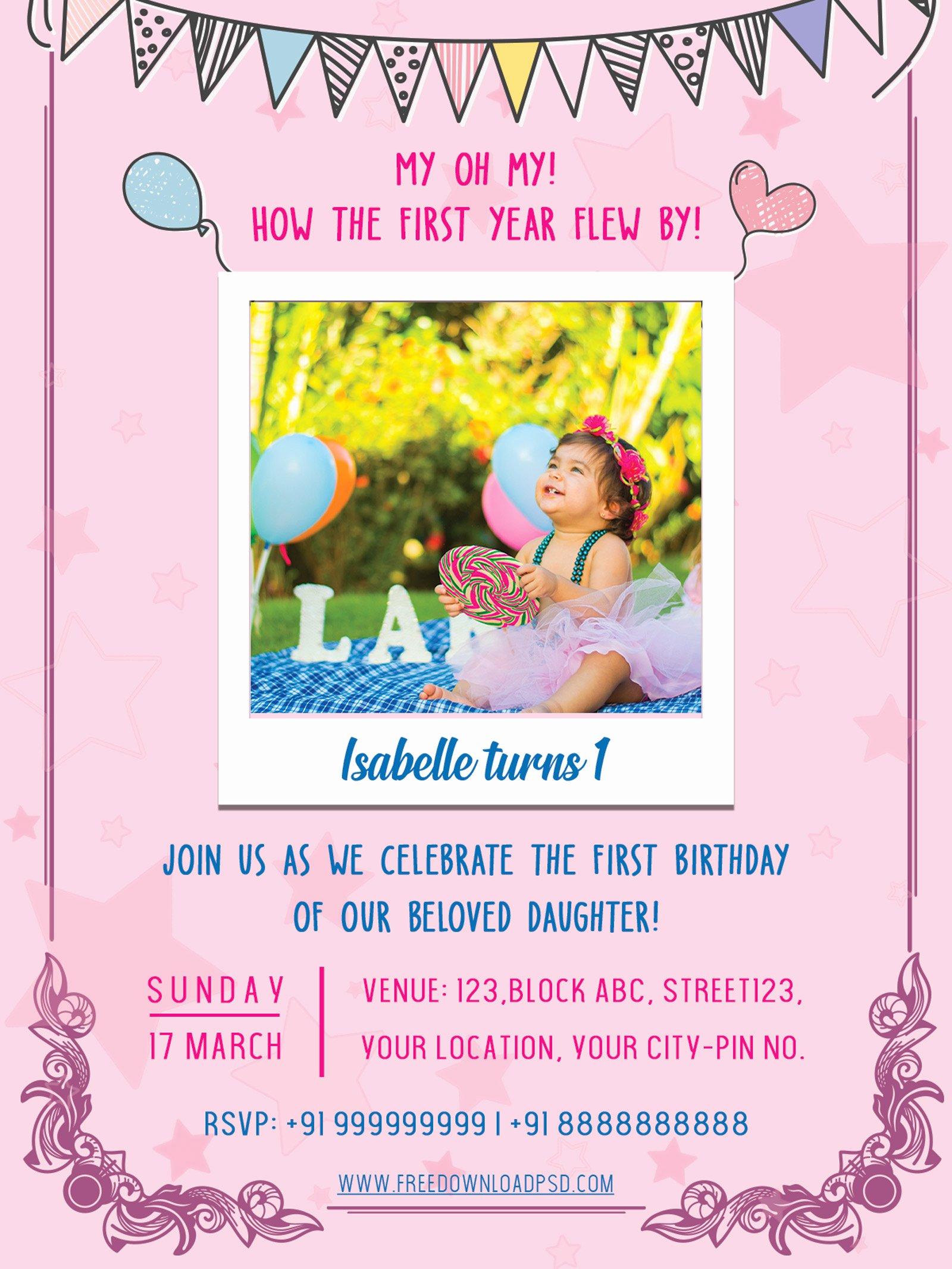 Birthday Invitation Templates Word Fresh Birthday Party Invitation Psd Flyer