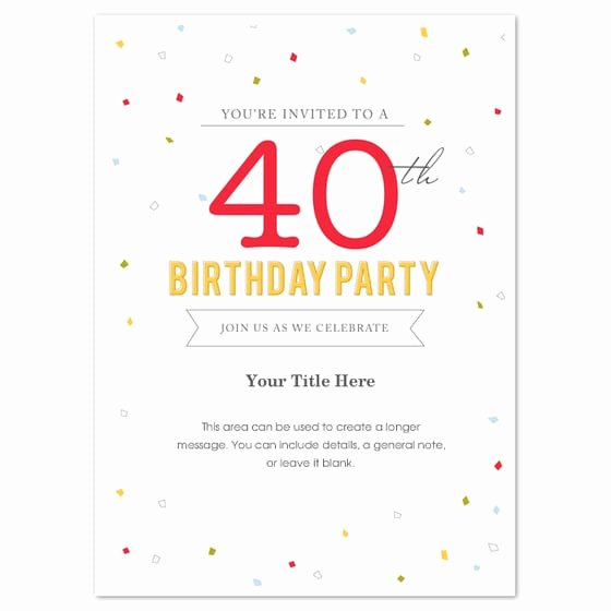 Birthday Invitation Templates Word Luxury 40th Birthday Invitation Template Word
