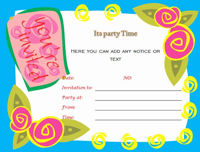 Birthday Invitation Templates Word New Birthday Party Invitations Microsoft Word Templates