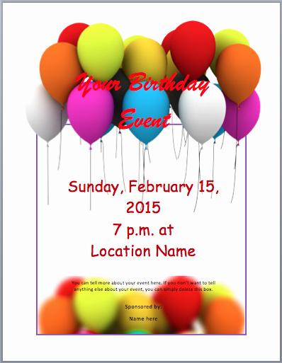 Birthday Invitation Templates Word Unique Birthday Party Invitation Flyer Template 3 Printable
