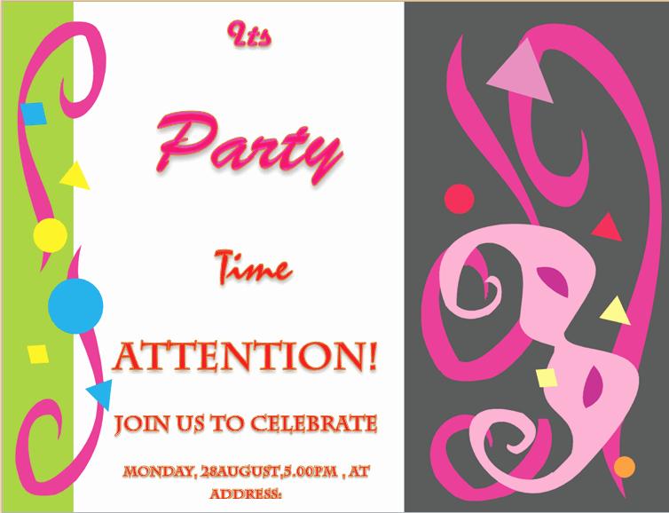 Birthday Invitation Templates Word Unique Party Invitation Template Invite Your Friends In Style
