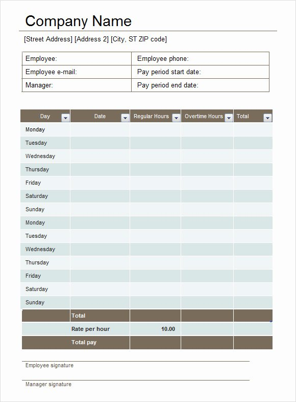 Biweekly Timesheet Template Free Inspirational Excel Timesheet Sample 18 Documents In Excel