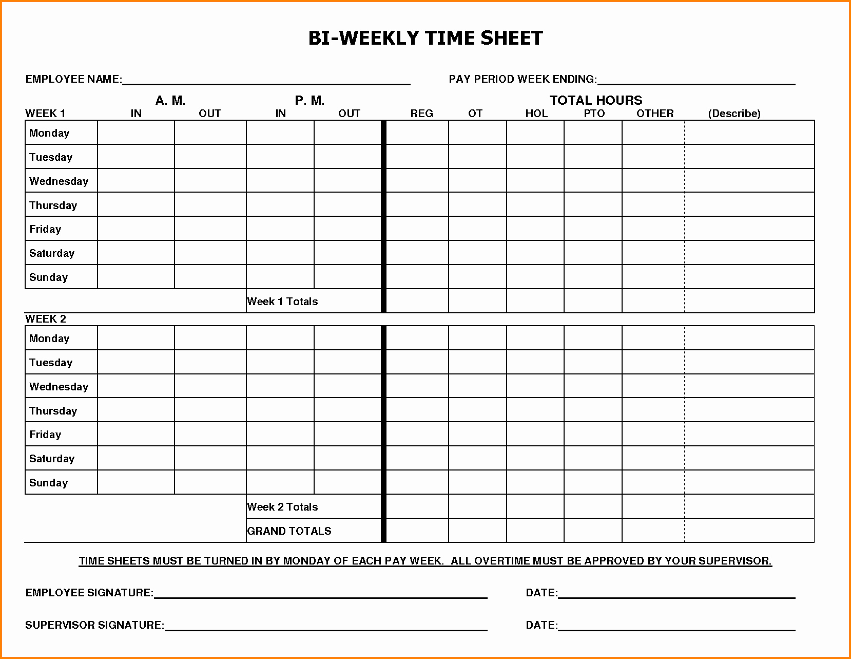 Biweekly Timesheet Template Free Unique 8 Biweekly Payroll Timesheet Template