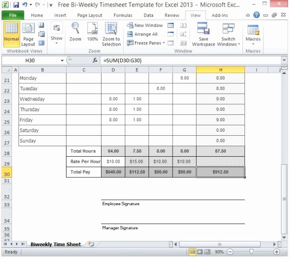 Biweekly Timesheet Template Free Unique Free Bi Weekly Timesheet Template for Excel 2013