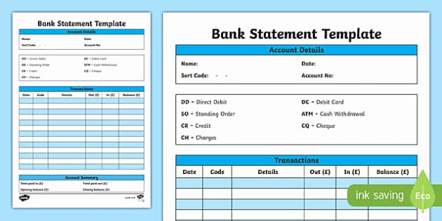 Blank Bank Statement Template Fresh Bank Statement Template Cfe Everyday Maths Real Life