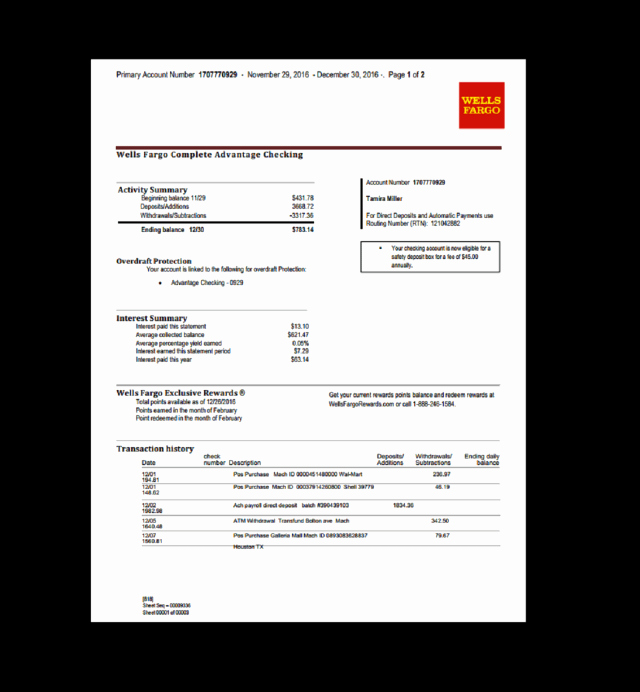 Blank Bank Statement Template Lovely Wells Fargo Bank Statement Template Free Download Aashe