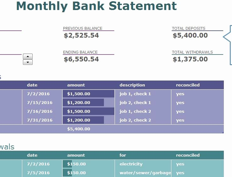 Blank Bank Statement Template New Monthly Bank Statement My Excel Templates