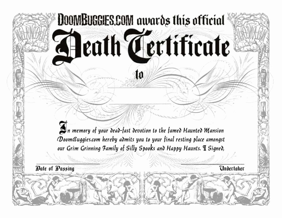Blank Death Certificate Template Awesome 37 Blank Death Certificate Templates [ Free]
