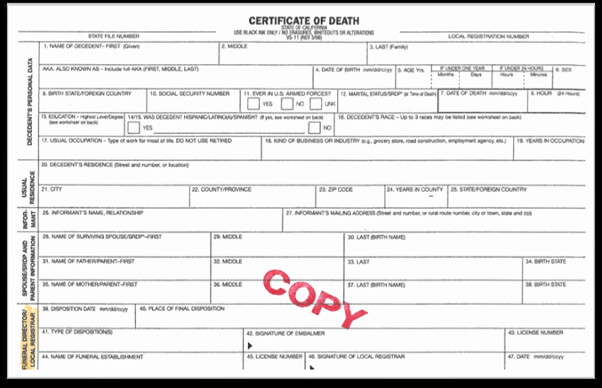 Blank Death Certificate Template Beautiful Blank Certificate Google Search