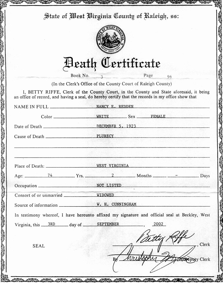 Blank Death Certificate Template Elegant the Descendants Of William Redden Sr