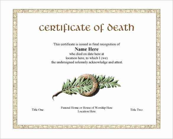 Blank Death Certificate Template Fresh 7 Death Certificate Templates Psd Ai Illustrator Word