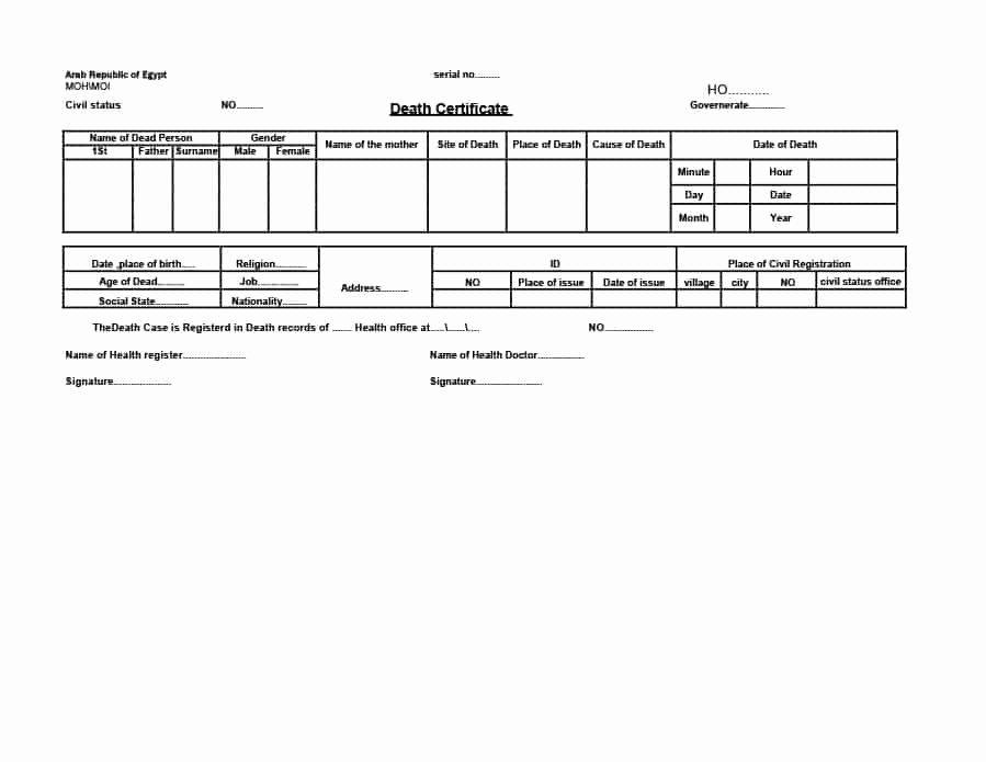 Blank Death Certificate Template Inspirational 37 Blank Death Certificate Templates [ Free]