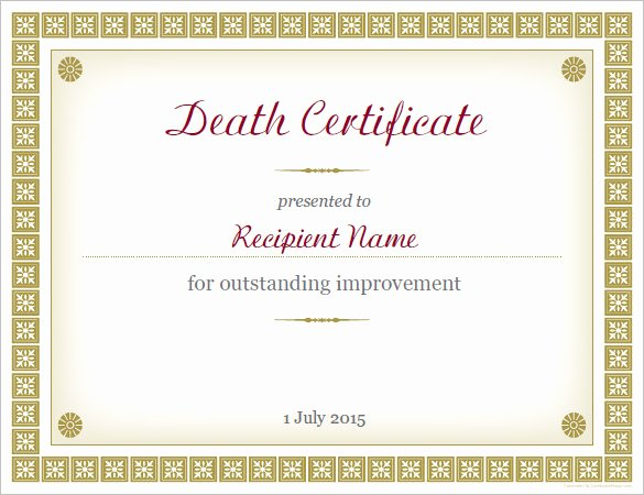 Blank Death Certificate Template Inspirational Sample Death Certificate Templates 13 Free Word Pdf