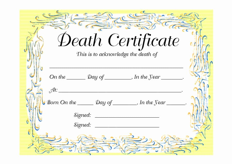 Blank Death Certificate Template Lovely 37 Blank Death Certificate Templates [ Free]