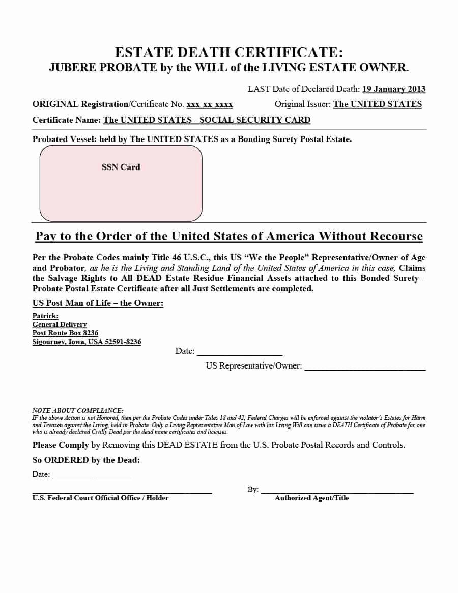 Blank Death Certificate Template Luxury 37 Blank Death Certificate Templates [ Free]