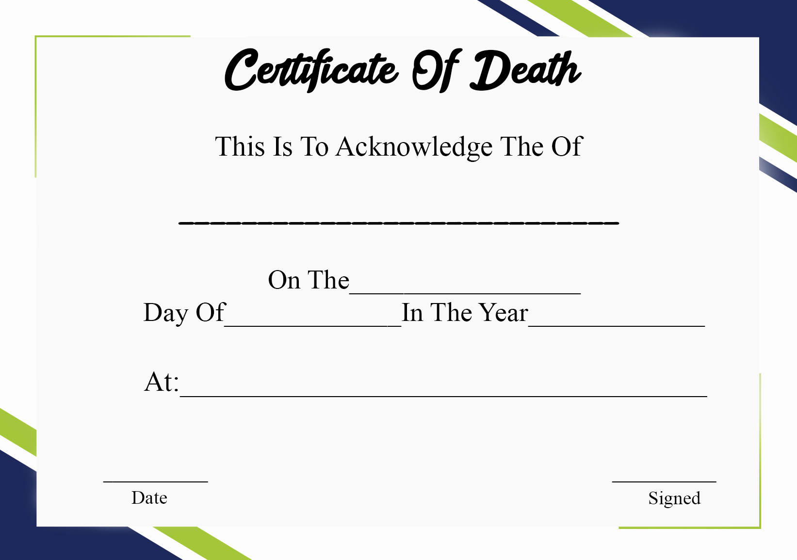 Blank Death Certificate Template Luxury 5 Printable Certificate Death Templates with Samples