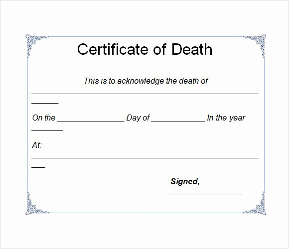 Blank Death Certificate Template Unique Sample Death Certificate Template 7 Download Documents