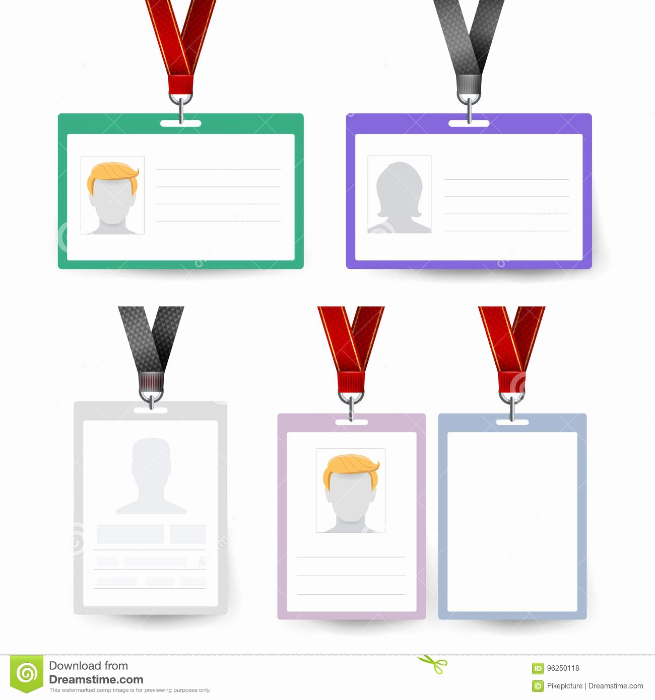 Blank Id Card Template Awesome Id Badge Set Vector Name Tag Employee Card White Blank
