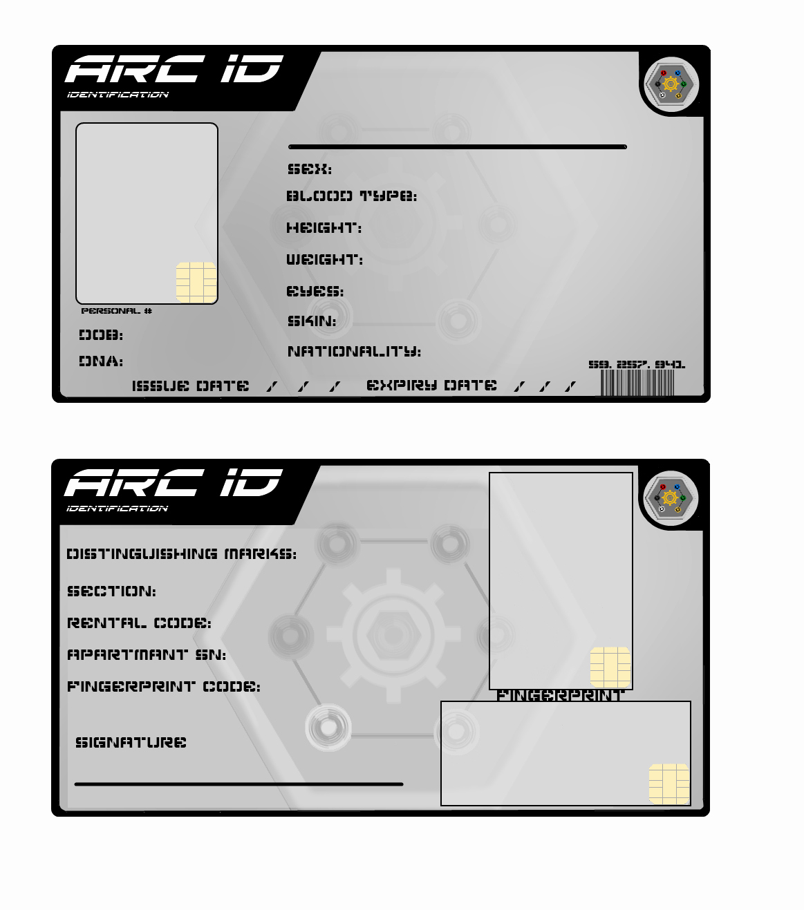blank state identification card