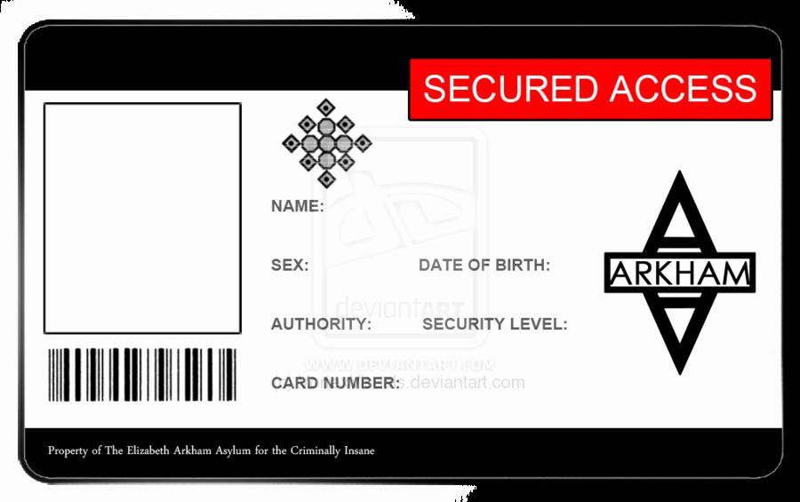 Blank Id Card Template Unique Arkham asylum Id Card Blank by Vortexvisuals On Deviantart