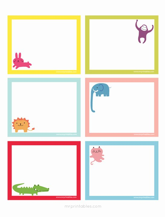 Blank Index Card Template Awesome Animals Printable Note Cards Mr Printables