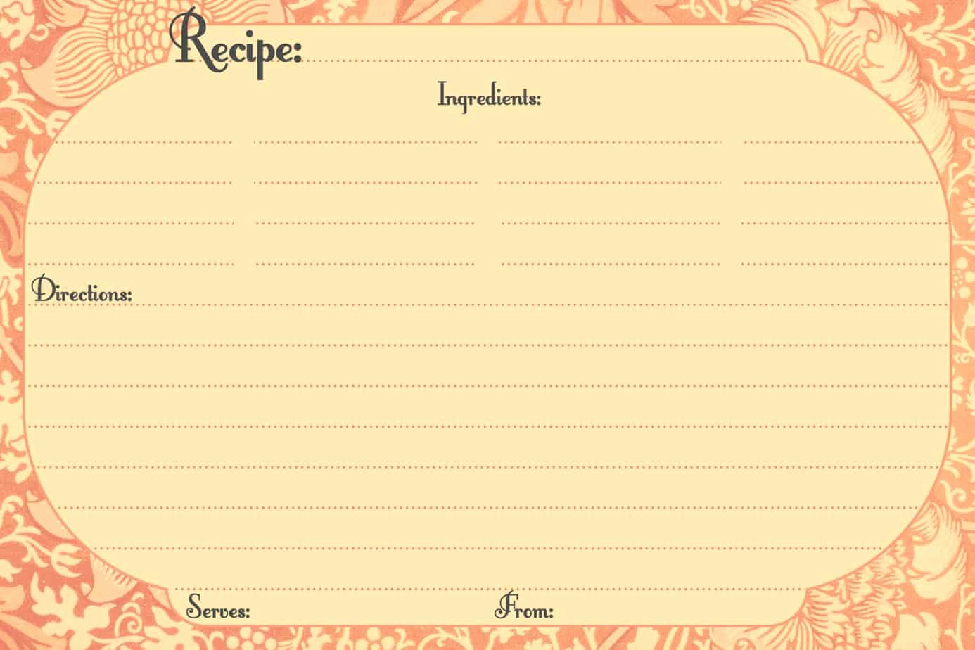 Blank Index Card Template Fresh 13 Recipe Card Templates Excel Pdf formats