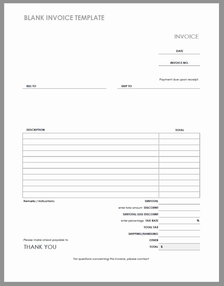 Blank Invoice Template Pdf Fresh 55 Free Invoice Templates