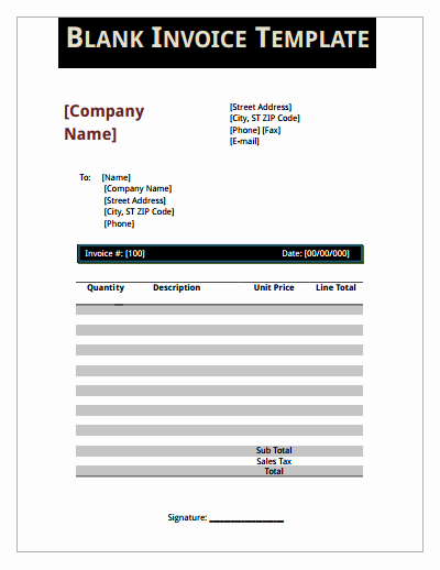 Blank Invoice Template Pdf Inspirational Blank Invoice Template Download Create Edit Fill and