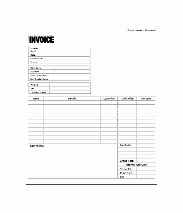 Blank Invoice Template Pdf New 6 Blank Invoice Templates Free Word Pdf Documents Download