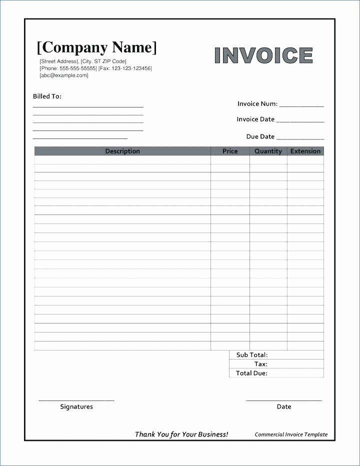 Blank Invoice Template Pdf New Fillable Invoice Template Pdf
