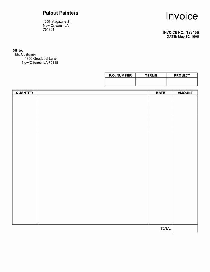 Blank Invoice Template Word Inspirational Printable Paper Templates